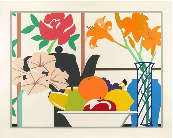 Tom Wesselman, Still Life of Petunias, Lilies and Fruit 1988, Color Serigraph