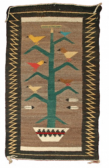"Unknown, 20th Century Navajo, Rug with ""Birds in a Tree Motif"" Textile"