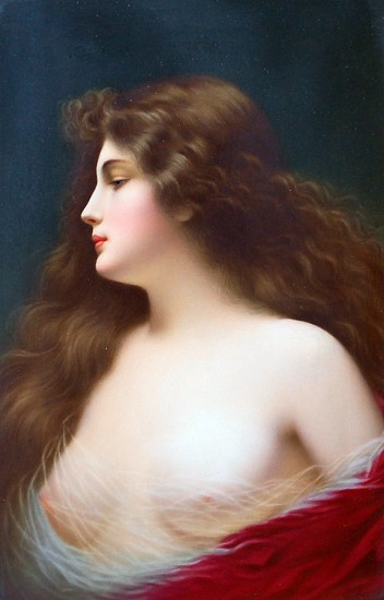 Kpm, Germany, Portrait of a Longhaired Beauty Hand Painted Porcelain