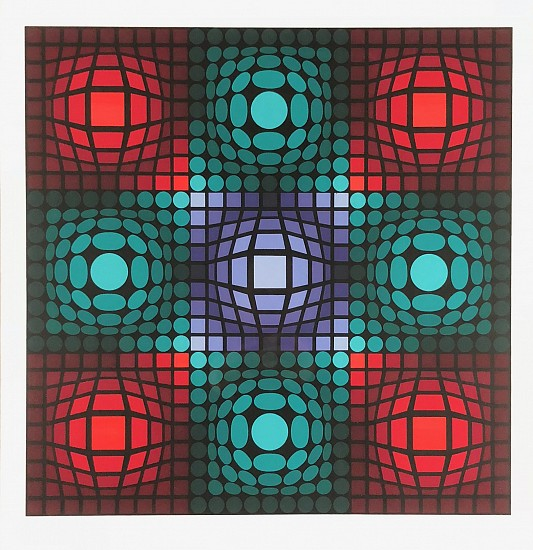 Victor Vasarely, Red and Green Bubbles Color Lithograph