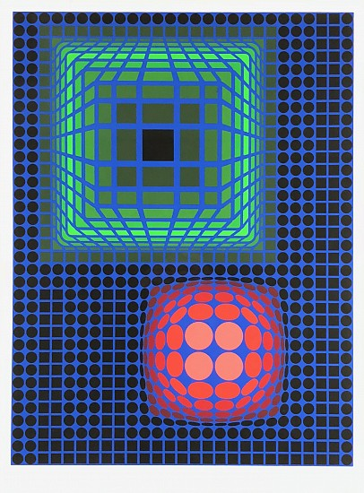 Victor Vasarely, Sphere and Cube Bubbles Color Lithograph