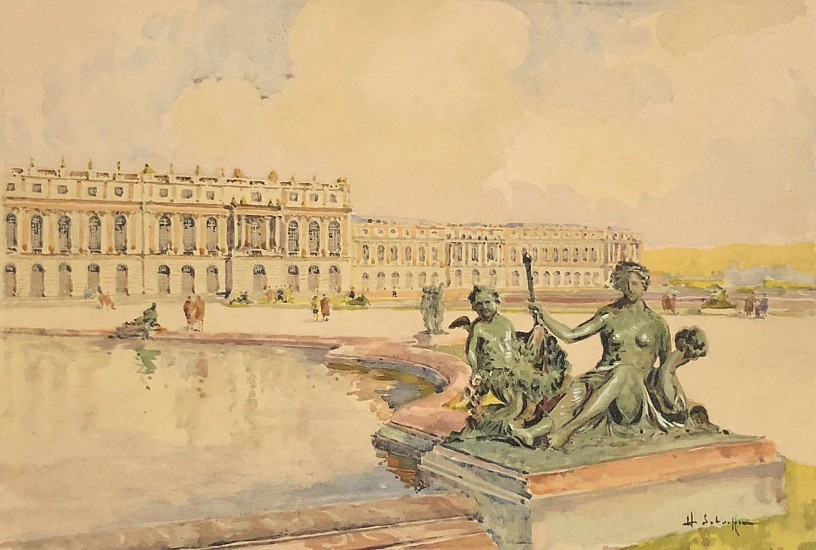 Henry Alexis Schaeffer, View of Versailles Watercolor on Paper