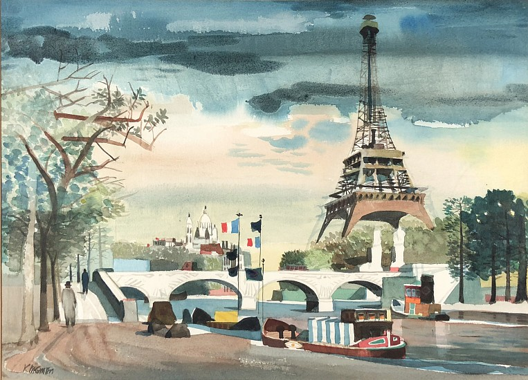 Dong Kingman, Paris Scene with Eiffel Tower Watercolor
