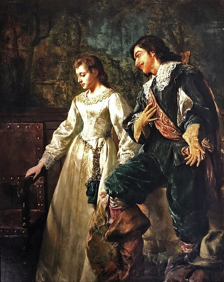 Leon de Meutter Brunin, Elegant Couple Oil on Panel